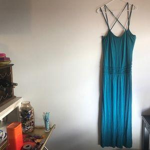 Max Studio Drop Waist Teal Fine Jersey Maxi Dress